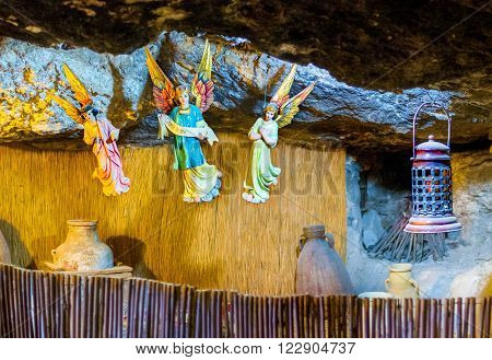 BETHLEHEM PALESTINE - FEBRUARY 18 2016: The interior of the cave where the shepherds ware announced about the birth of the Christ on February 18 in Bethlehem.