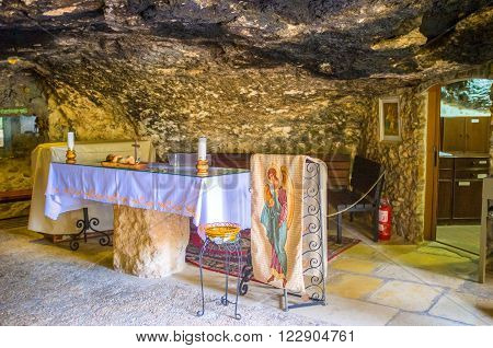 BETHLEHEM PALESTINE - FEBRUARY 18 2016: The cave where the angels announced the Jesus's Birth to the shepherds on February 18 in Bethlehem.