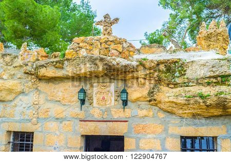 The stone church located inside the annunciation cave in Shepherds Field Bethlehem Palestine Israel.