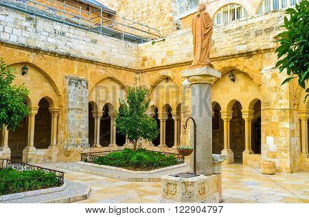 BETHLEHEM PALESTINE - FEBRUARY 18 2016: The inner courtyard of the Church of the Nativity on February 18 in Bethlehem.
