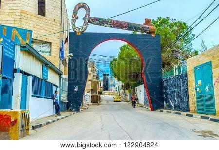 BETHLEHEM PALESTINE - FEBRUARY 18 2016: The structure with big key symbolizes the hopes of the refugees to return home on February 18 in Bethlehem.