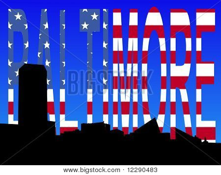 Baltimore Inner Harbor skyline with flag text