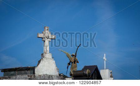 cross in Recoleta Cemetery in Buenos Aires