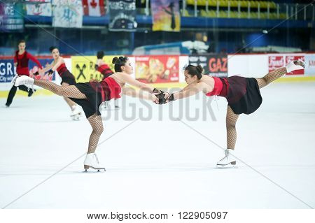 ZAGREB, CROATIA-MARCH 12 : Team Turkey perform in the Juniors Free Skating during Day 2 of the ISU Synchronized Skating Junior World Challenge Cup at Dom Sportova on March 12, 2016 in Zagreb, Croatia.