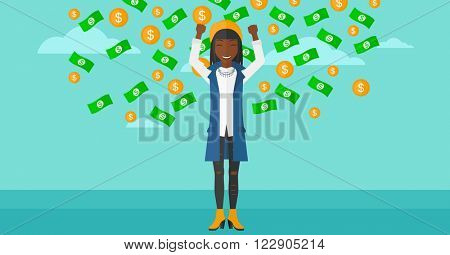 Happy woman with  flying money.