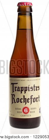 GRONINGEN, NETHERLANDS - MARCH 23, 2016: Belgian trappist beer Rochefort 6 isolated on a white background
