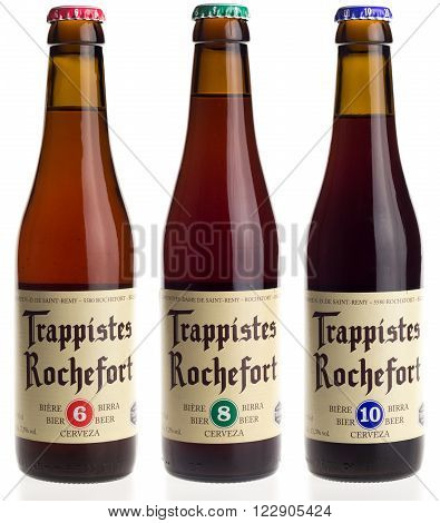 GRONINGEN, NETHERLANDS - MARCH 23, 2016: Belgian trappist beer Rochefort 6, 8 and 10 isolated on a white background