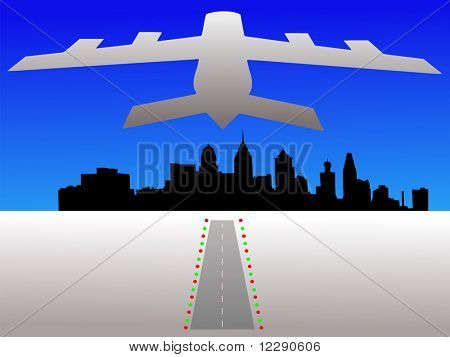 Plane taking off from airport with Philadelphia skyline illustration JPG