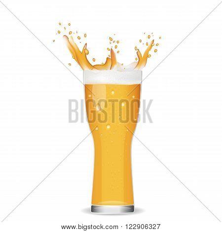 Illustration of glass cold beer.Splashing beer on white background.
