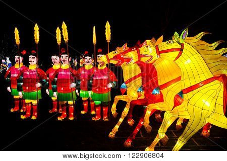 London United Kingdom - February 07 2016: Magical Lantern Festival at Chiswick House And Gardens. Chinese warriors and horses lanterns