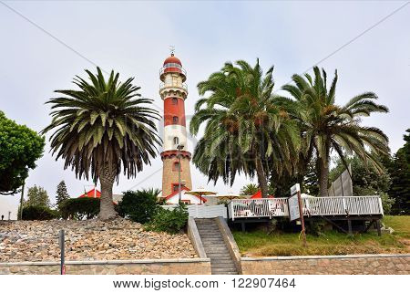 SWAKOPMUND NAMIBIA - JAN 31 2016: Lighthouse in Swakopmund. City was founded in 1892 by Captain Curt von Francois as the main harbour of German South West Africa
