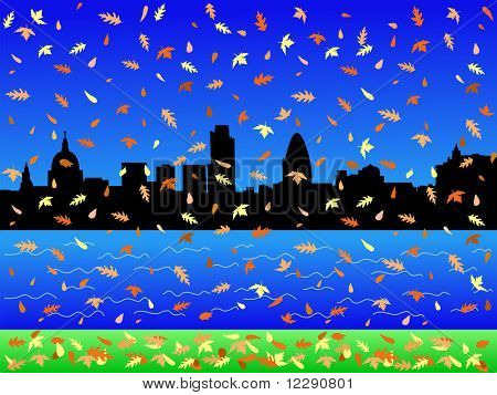 London Skyline in autumn with falling leaves JPG