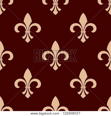 Medieval heraldic floral seamless pattern for interior wallpaper design with delicate beige fleur-de-lis ornament over brown background