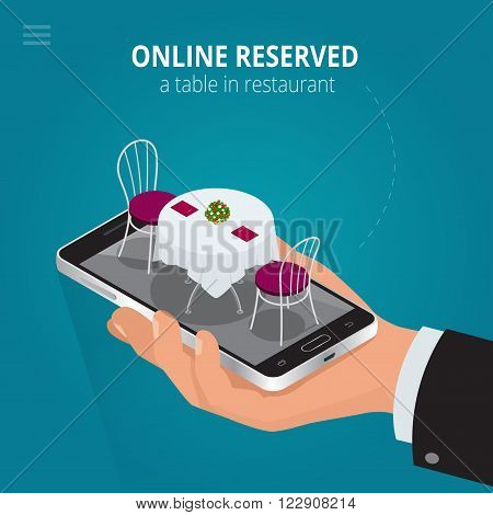 Online reserved table in restaurant.  Concept Reserved in cafe. Flat 3d isometric vector illustration