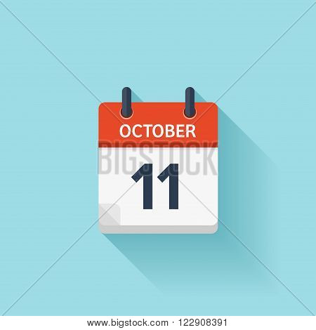 October 11 . Vector flat daily calendar icon. Date and time, day, month. Holiday.