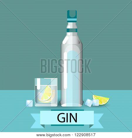 Gin Bottle Glass Lemon Alcohol Drink Icon Flat Vector Illustration