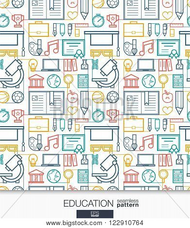 Education wallpaper. School and university connected seamless pattern. Tiling textures with thin line integrated web icons set. Vector illustration. Abstract elearning background for mobile app