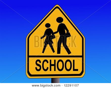 American warning school road sign illustration on blue JPG