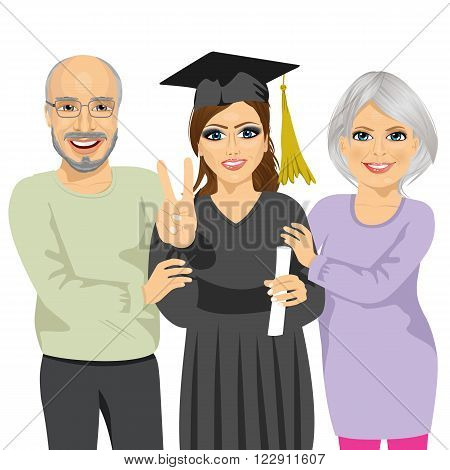 grandparents proud and happy of granddaughter holding diploma and showing a victory sign on graduation ceremony day