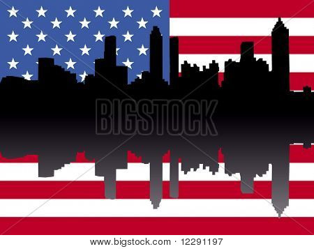 Atlanta skyline reflected against American flag illustration