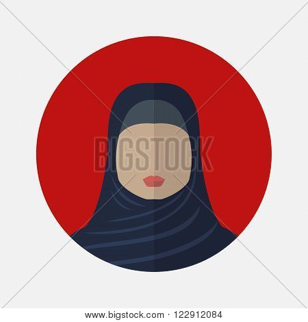 Vector female avatar icon in flat style arabic nationality.