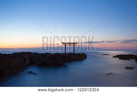 Japan landscape of traditional Japanese gate and sea at Oarai Ibaraki prefecture