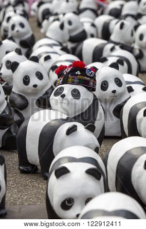 Chiang Mai,thailand March 19, 2016 : Pandas World Tour By Wwf Exhibition Of The 1,600 Paper Mache Pa