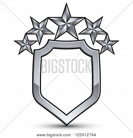 Festive vector emblem with silver outline and decorative pentagonal stars 3d royal conceptual design element. Symbolic coat of arms isolated on white background. Heraldic escutcheon.