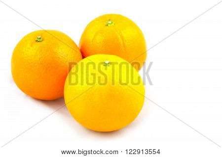 Three asian that brought from local market oranges on white background