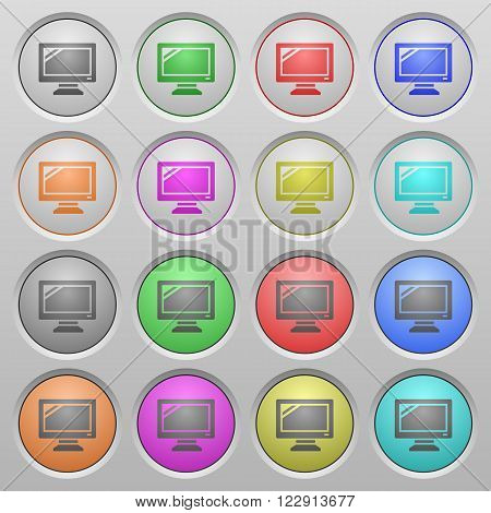 Set of monitor plastic sunk spherical buttons.