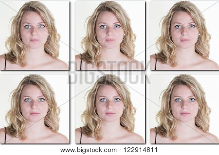 Identification photo of a woman for passport identity card isolated