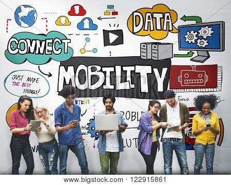 Mobility Trends Social Media Networking Connection Concept
