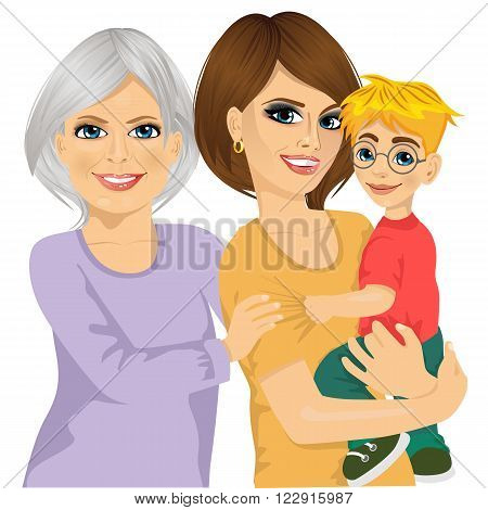 Portrait of happy grandma, mother and her son isolated on white background