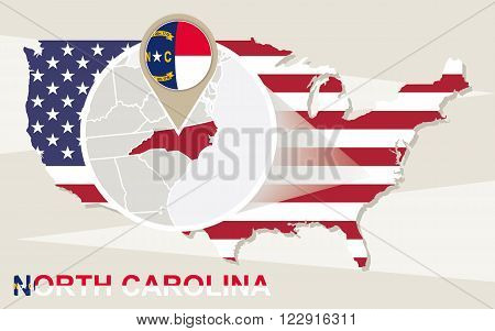 Usa Map With Magnified North Carolina State. North Carolina Flag And Map.
