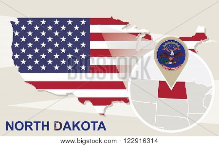 Usa Map With Magnified North Dakota State. North Dakota Flag And Map.