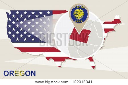 Usa Map With Magnified Oregon State. Oregon Flag And Map.