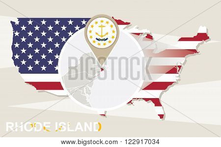 Usa Map With Magnified Rhode Island State. Rhode Island Flag And Map.