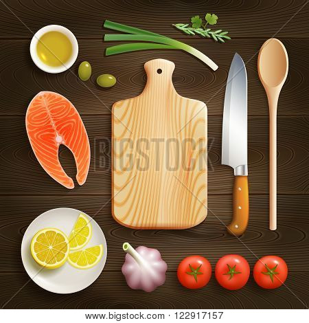 Cooking theme flat lay photo composition with cutting board raw salmon and lemon dark background vector illustration
