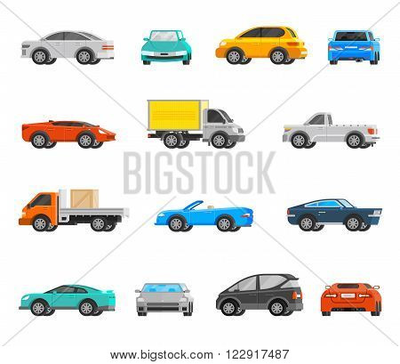 Vehicles orthogonal icons set with cars and trucks flat isolated vector illustration