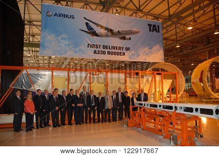 ANKARA/TURKEY-APRIL 29, 2015: High officials at the TAI hangar during the First delivery of Airbus A330 Rudder ceremony. April 29, 2015-Ankara/Turkey