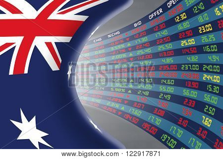 National flag of Australia with a large display of daily stock market price and quotations during normal economic period. The fate and mystery of Australian stock market tunnel/corridor concept.