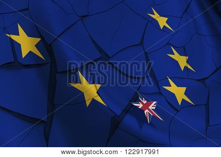 Brexit : Flag of EU and 12 gold (yellow) stars with a small star flag of UK rise above the blue background. An uncertainty when UK prime minister renegotiate Britain's relationship within the EU.