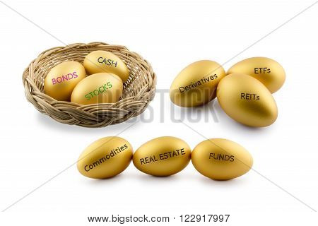 Asset allocation theme golden eggs with various type of financial and investment products i.e bond cash etc. Sustainable portfolio and long term wealth management with risk diversification concept.