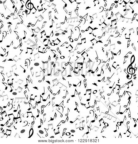 Abstract musical seamless pattern with black notes on white background. Vector Illustration for music design. Modern pop  concept art melody banner. Sound key decoration with music symbol sign.