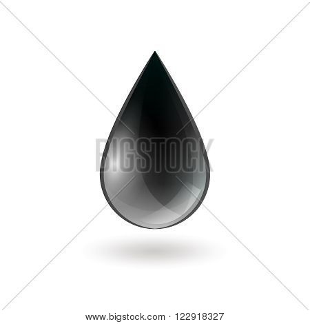 Falling single oil drop of black shiny color on white background isolated vector illustration