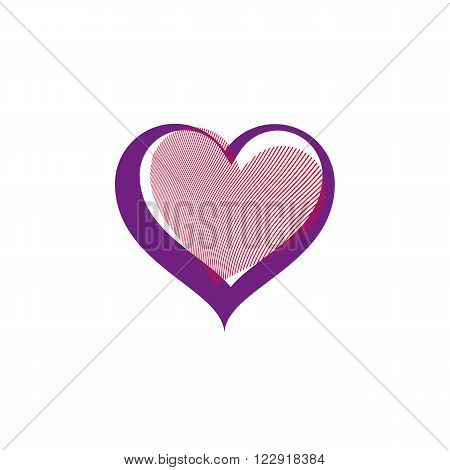 Valentines day conceptual vector art illustration, loving heart isolated on white background. Love theme romantic element, beautiful valentine.