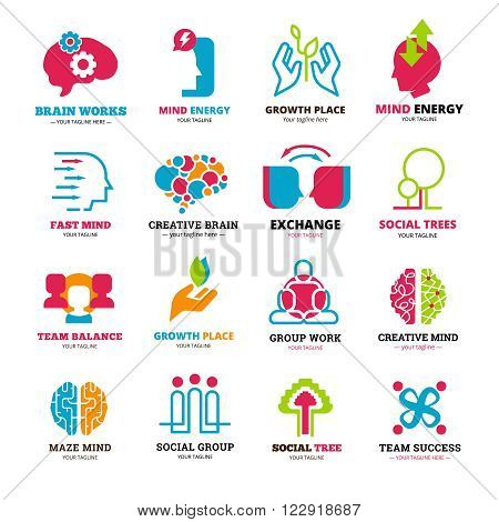 Logo set of social relationship signs presenting team or group working and mind storming flat isolated vector illustration