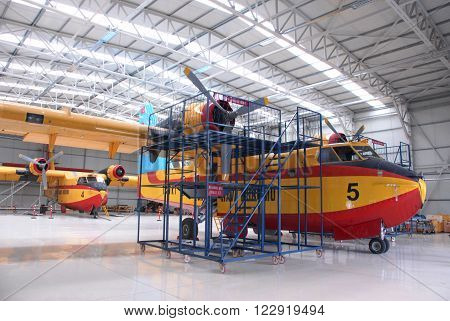 ANKARA-TURKEY-MAY 6 : Firefighter aircraft Canadair CL-215 at the Turkish Air Association-THK's Etimesgut Airport' hangar. May 6, 2012-Ankara/Turkey