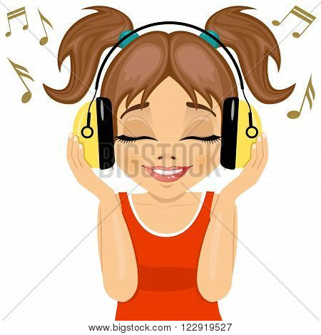little cute girl enjoys listening to music with headphones on white background