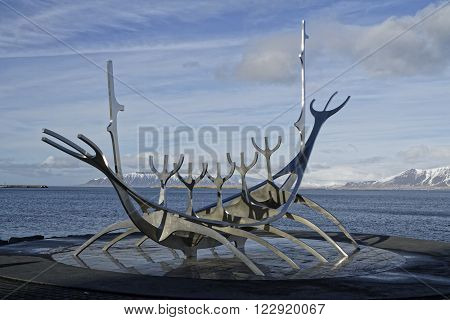Reykjavik, Iceland, March 8, 2016 : Sun Voyager (icelandic : Solfar) Is A Sculpture Of A Dreamboat,